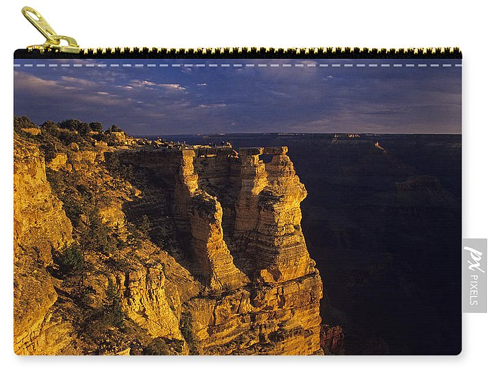 Grand Canyon National Park Carry-all Pouch featuring the photograph South Rim Grand Canyon Taken Near Mather Point Sunrise Light On by Jim Corwin