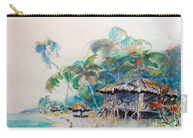 South Seas Painting Carry-all Pouch featuring the painting South Sea Home by Carolyn Jarvis
