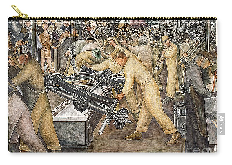 Machinery Carry-all Pouch featuring the painting South Wall of a Mural depicting Detroit Industry by Diego Rivera