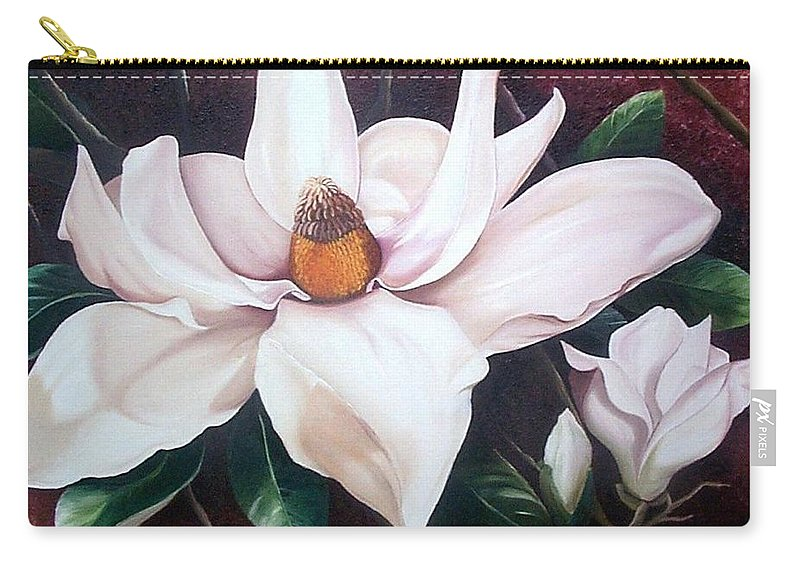 Magnolia Southern Bloom Floral Botanical White Carry-all Pouch featuring the painting Southern Beauty by Karin Dawn Kelshall- Best