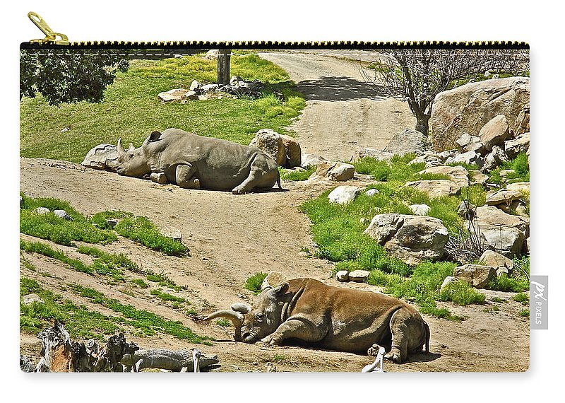 Southern White Rhinoceros In San Diego Zoo Safari Park In Escondido Carry-all Pouch featuring the photograph Southern White Rhinoceros In San Diego Zoo Safari Park In Escondido-california by Ruth Hager