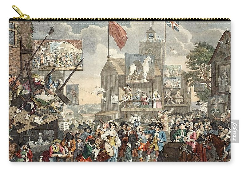 Borough High Street Carry-all Pouch featuring the drawing Southwark Fair, 1733, Illustration by William Hogarth