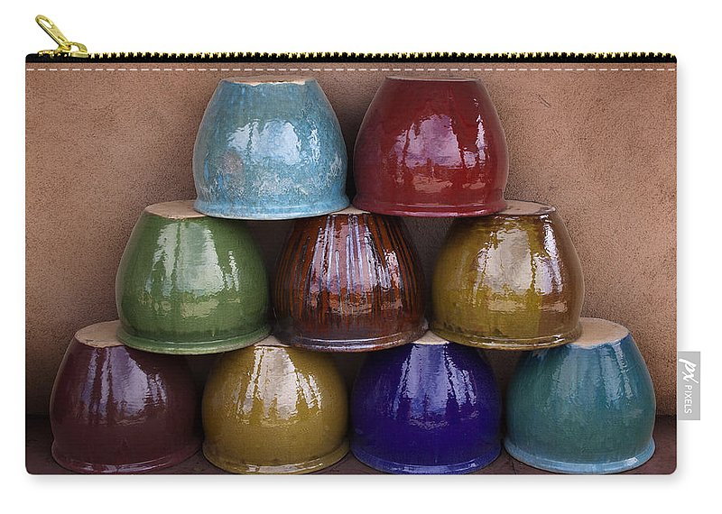 Ceramic Carry-all Pouch featuring the photograph Southwestern Ceramic Pots by Carol Leigh