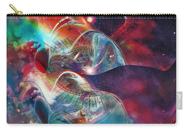 Space Bubble Carry-all Pouch featuring the digital art Space Bubble by Linda Sannuti