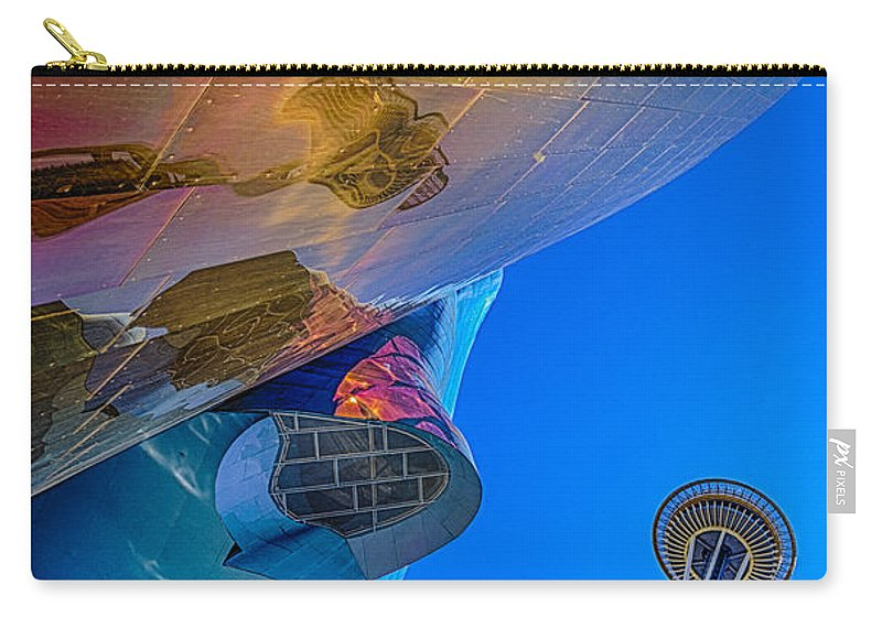 Space Needle Carry-all Pouch featuring the photograph Space Needle And Emp In Perspective Hdr by Scott Campbell
