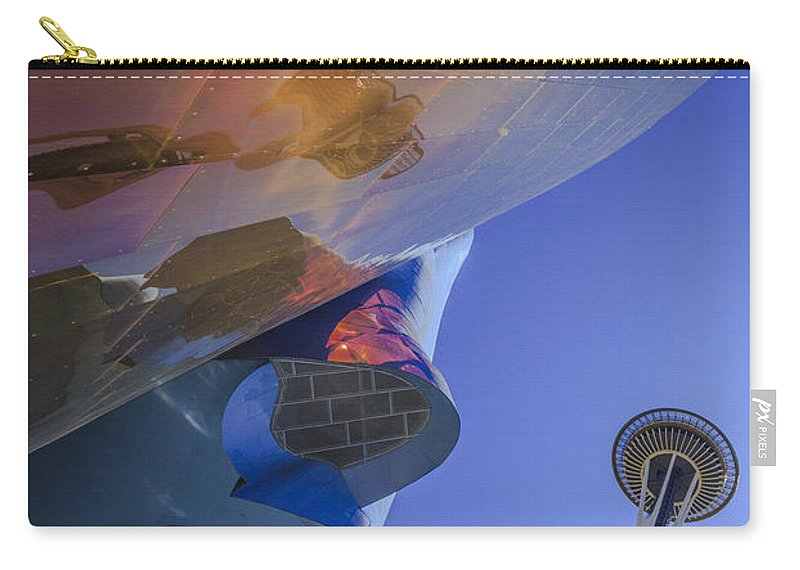 Space Needle Carry-all Pouch featuring the photograph Space Needle And Emp In Perspective Non Hdr by Scott Campbell
