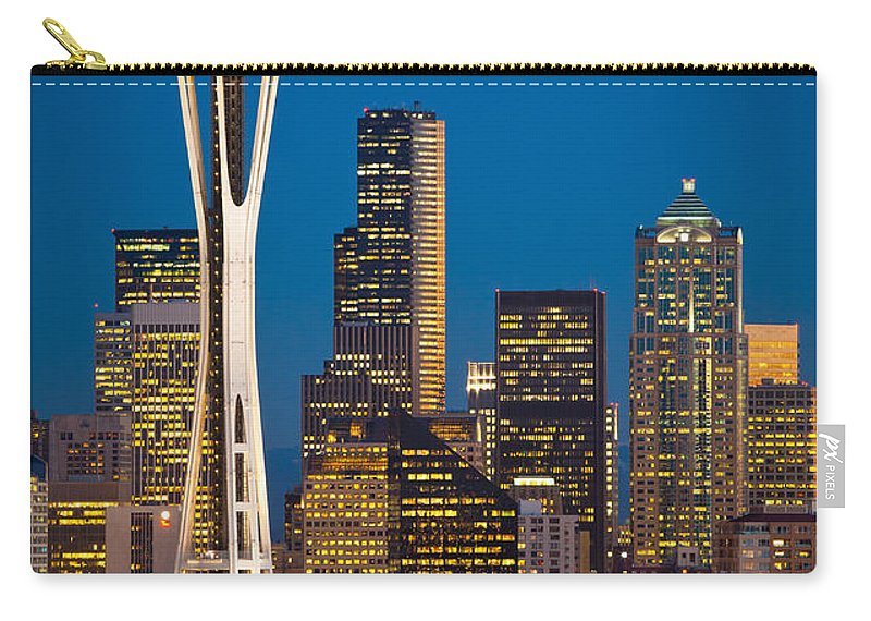 Seattle Carry-all Pouch featuring the photograph Space Needle Evening by Inge Johnsson