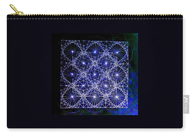 Space Carry-all Pouch featuring the drawing Space Time At Planck Length Vibrating At Speed Of Light Due To Heisenberg Uncertainty Principle by Jason Padgett