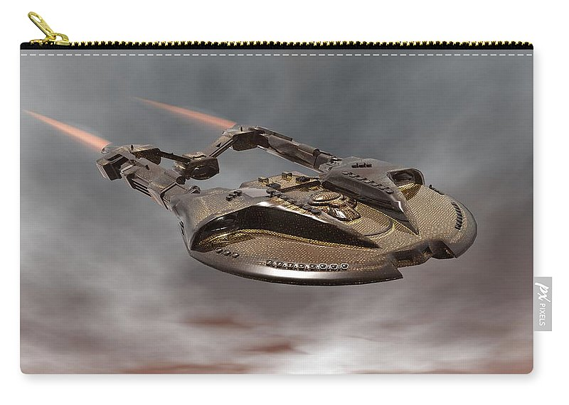Digital Art Carry-all Pouch featuring the digital art Spaceship by Michael Wimer