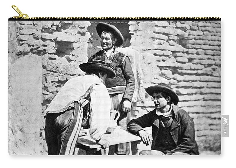 1875 Carry-all Pouch featuring the photograph Spain Cowboys, C1875 by Granger