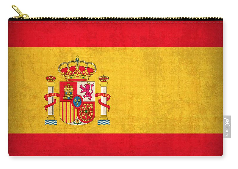 Spain Flag Vintage Distressed Finish Spanish Madrid Barcelona Europe Nation Country Carry-all Pouch featuring the mixed media Spain Flag Vintage Distressed Finish by Design Turnpike