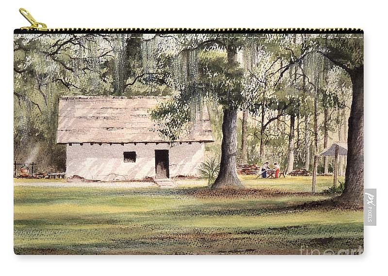 Spanish House Carry-all Pouch featuring the painting Spanish House Mission San Luis Tallahassee by Bill Holkham