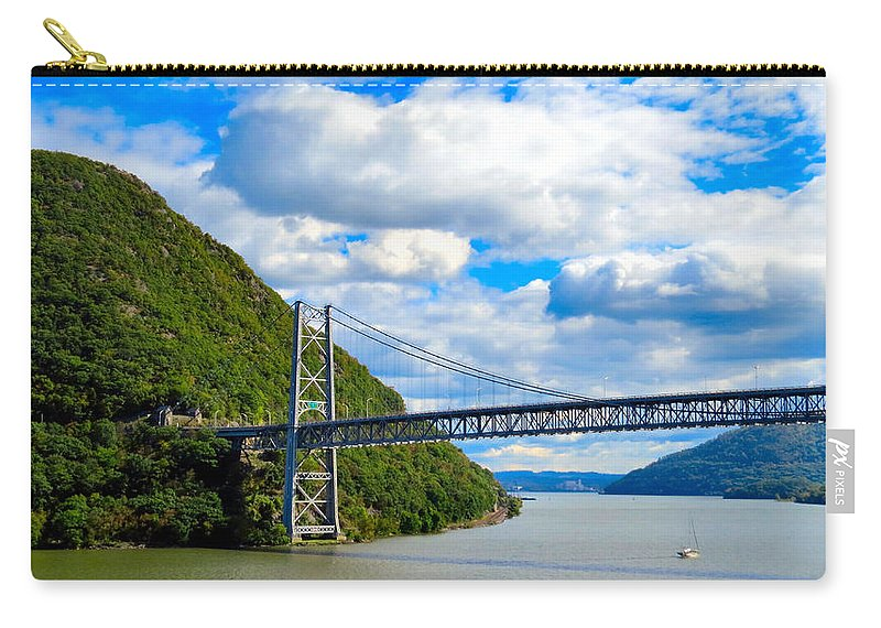 Sky Carry-all Pouch featuring the photograph Spanning The Hudson River by Art Dingo