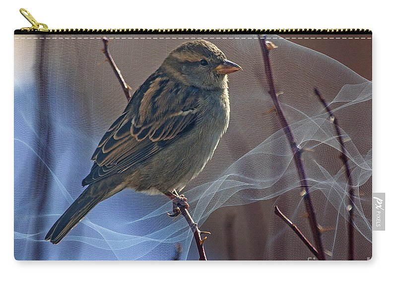 Sparrow Carry-all Pouch featuring the photograph Sparrow In A Weave by Janice Pariza
