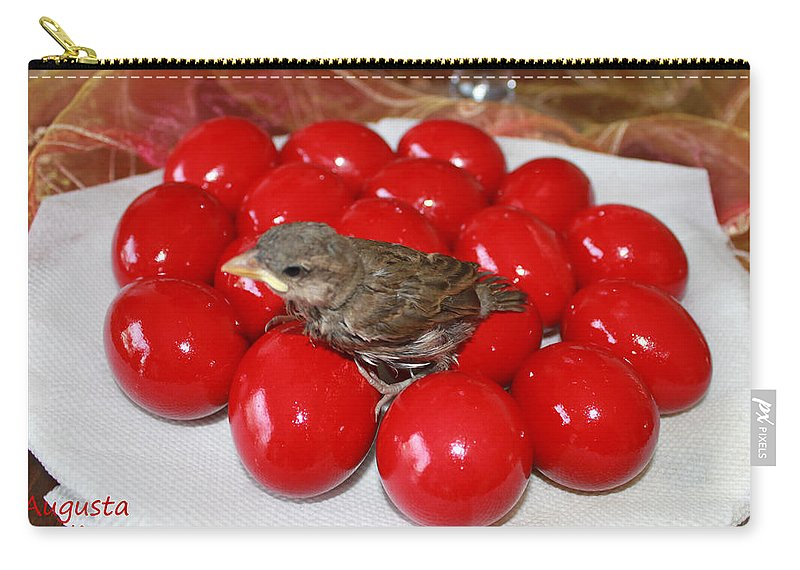 Augusta Stylianou Carry-all Pouch featuring the photograph Sparrow On Red Eggs by Augusta Stylianou