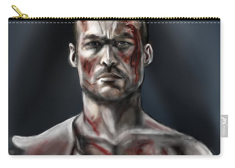 Andy Whitfield Carry-all Pouch featuring the painting Spartacus Champion Of Capua by Vinny John Usuriello
