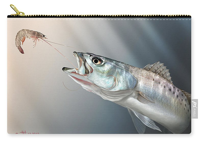 Shrimp Carry-all Pouch featuring the painting Speck Snack by Hayden Hammond