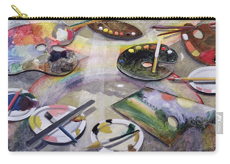 Plate Carry-all Pouch featuring the painting Spectrum Of Artists Palettes, 2003 by Charlotte Moore