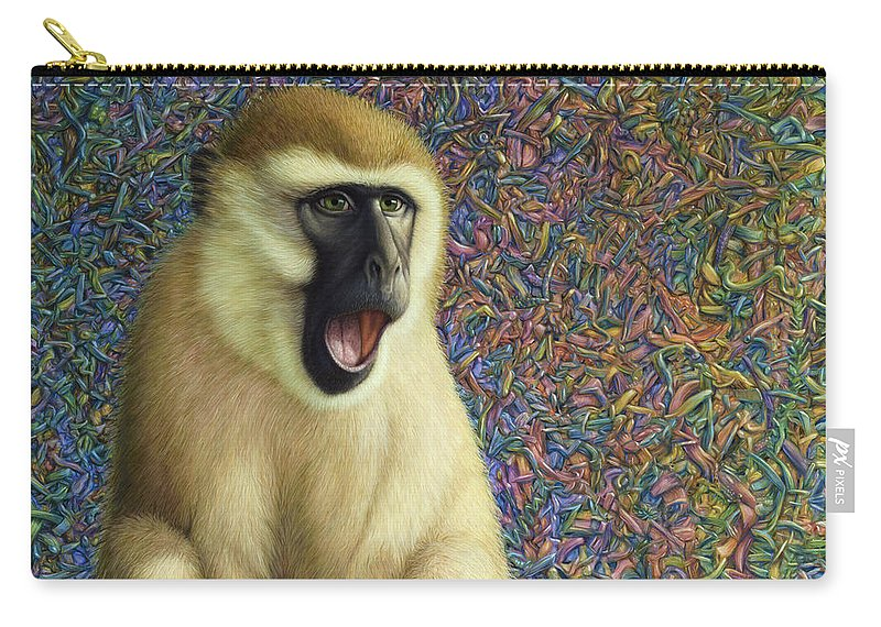 Monkey Carry-all Pouch featuring the painting Speechless by James W Johnson