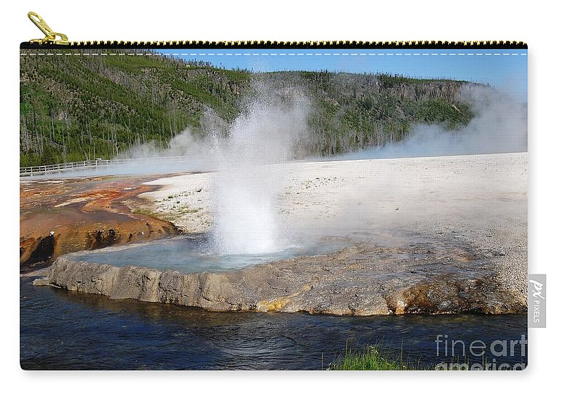 Geyser Carry-all Pouch featuring the photograph Spewing Beauty by Deanna Cagle