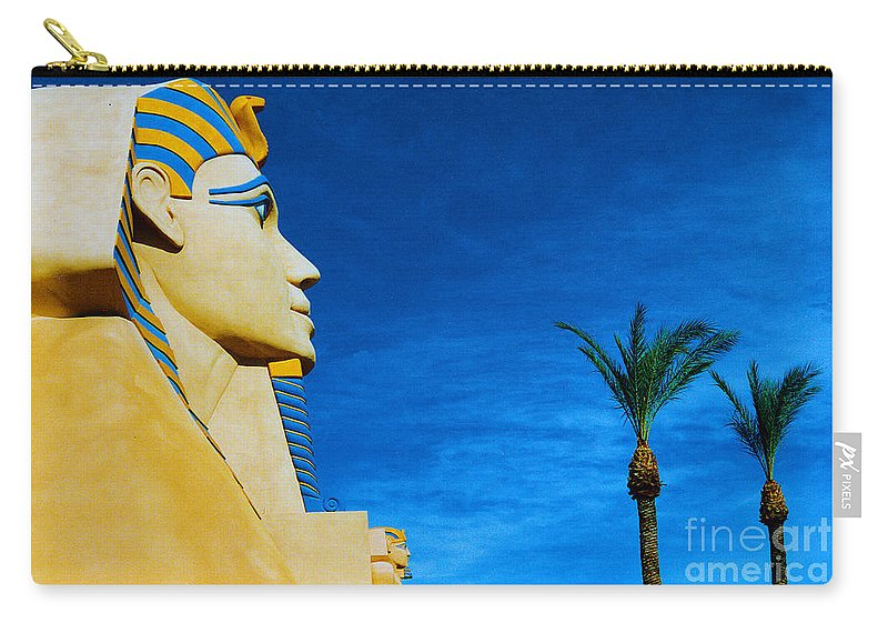 Sphinx Carry-all Pouch featuring the photograph Sphinx And Palm Trees Las Vegas by Mike Nellums