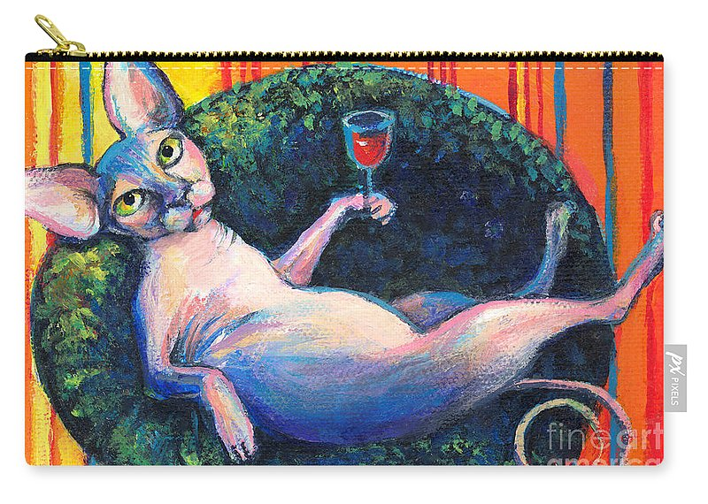 Sphynx Cat Carry-all Pouch featuring the painting Sphynx Cat Relaxing by Svetlana Novikova
