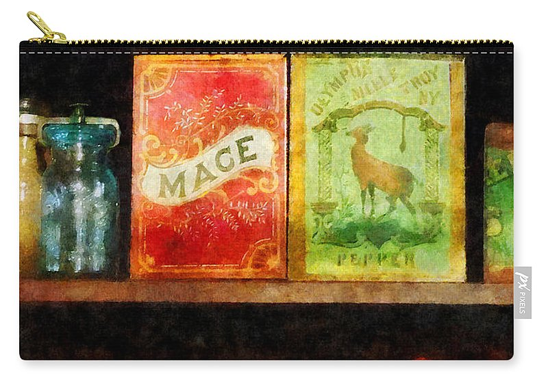 Spice Carry-all Pouch featuring the photograph Spices On Shelf by Susan Savad