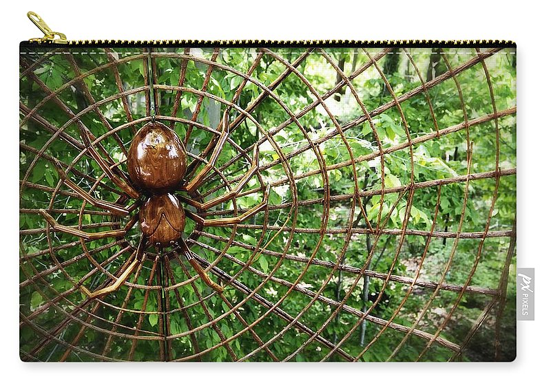 Spider Carry-all Pouch featuring the photograph Spider In Its Web by Alice Gipson