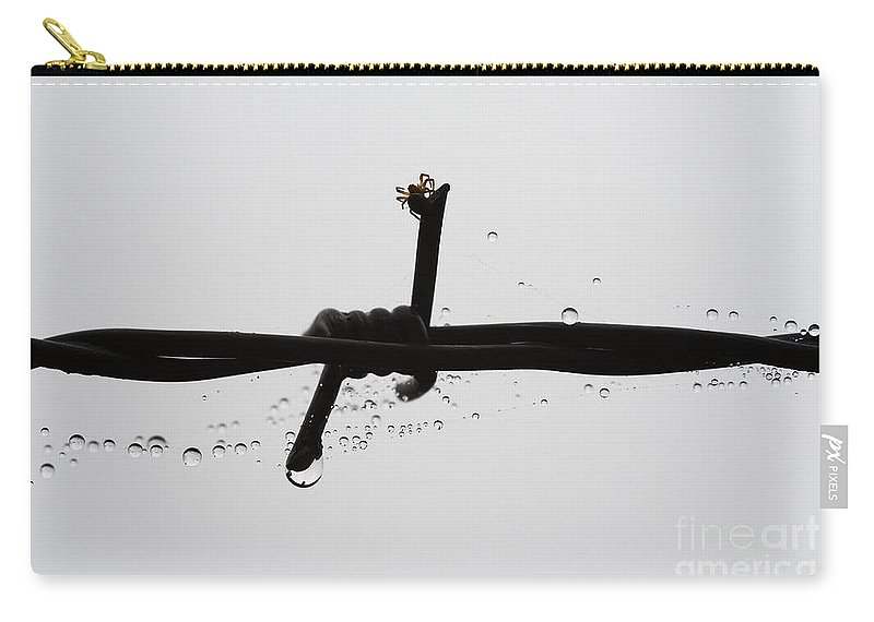 Spider Carry-all Pouch featuring the photograph Spider On The Barbed Wire by Michal Boubin