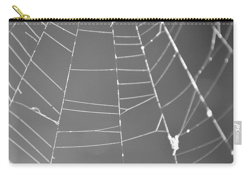 Abstract Carry-all Pouch featuring the photograph Spiderweb Bw by Brent Dolliver