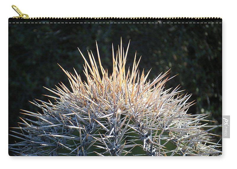 Arizona Carry-all Pouch featuring the photograph Spike Head In Silver by Tamara Kulish
