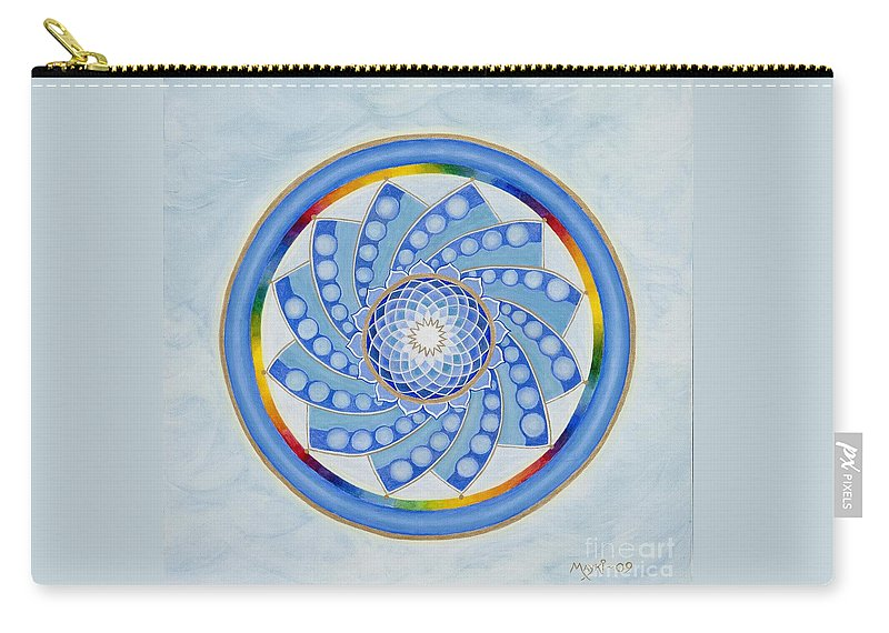 Mandala Carry-all Pouch featuring the painting Spinning Flower by Mayki Wiberg