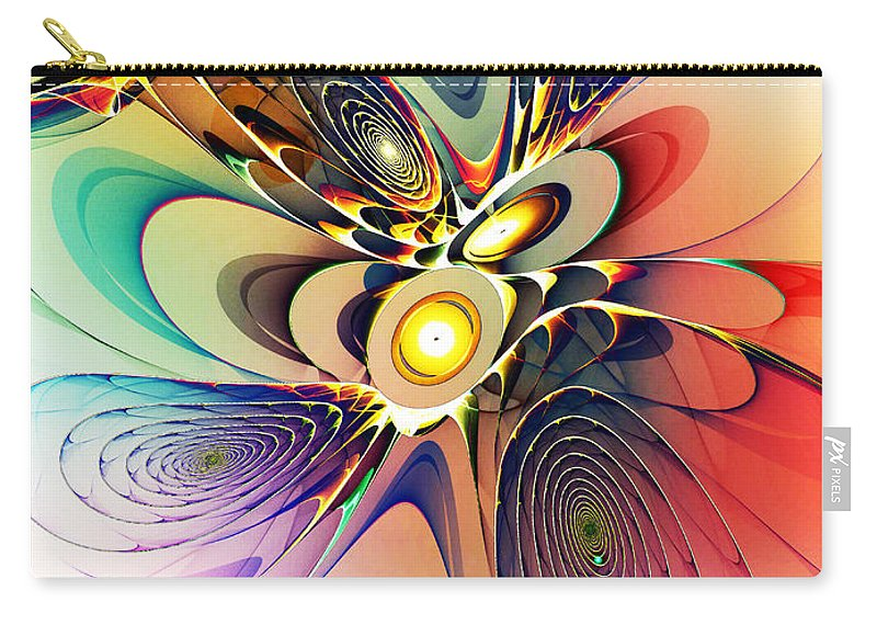 Spirals Carry-all Pouch featuring the digital art Spiral Mania by Klara Acel