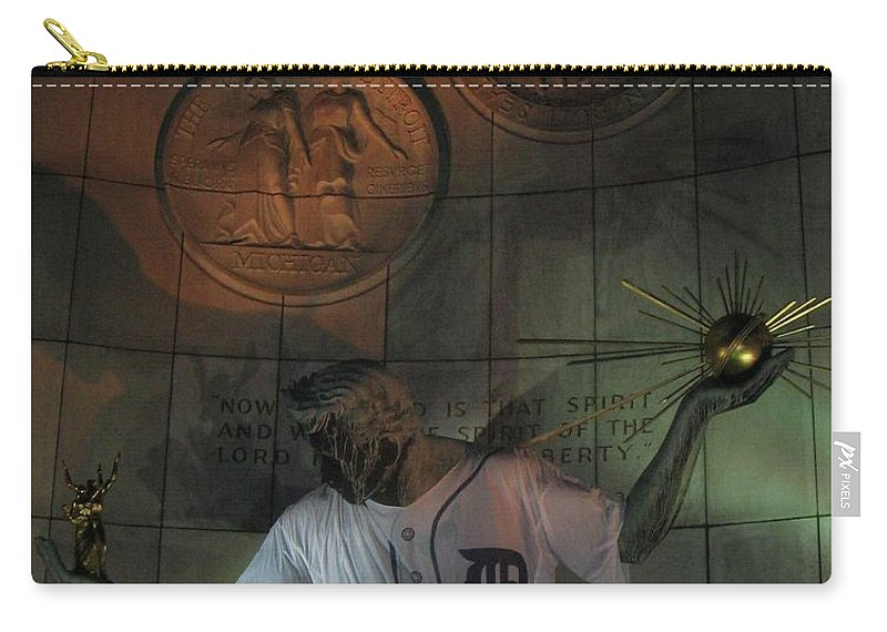 Spirit Of Detroit Carry-all Pouch featuring the photograph Spirit of Detroit Tigers by Crystal Hubbard