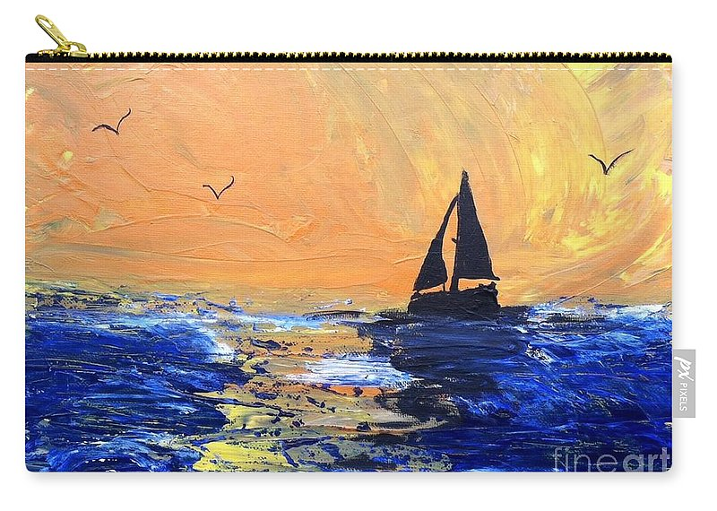 Sailboat Carry-all Pouch featuring the painting Spirits Rise As The Sails Fill by Linda Waidelich