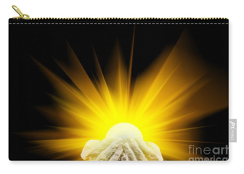 Spiritual Carry-all Pouch featuring the photograph Spiritual Light In Cupped Hands by Simon Bratt Photography LRPS