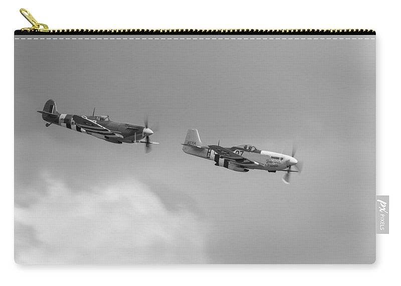 B7-h Carry-all Pouch featuring the photograph Spitfire And Mustang Black And White Version by Gary Eason
