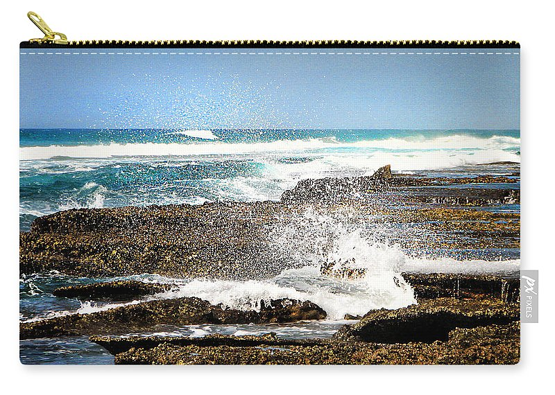 Sea Carry-all Pouch featuring the photograph Splashes At Sea by Ronel Broderick