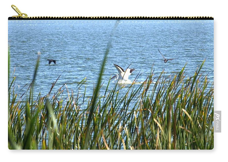 Bird Carry-all Pouch featuring the photograph Splashing In The Lake by Jo Jurkiewicz