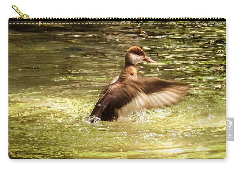Duck Carry-all Pouch featuring the photograph Splashing In The Water by Zina Stromberg