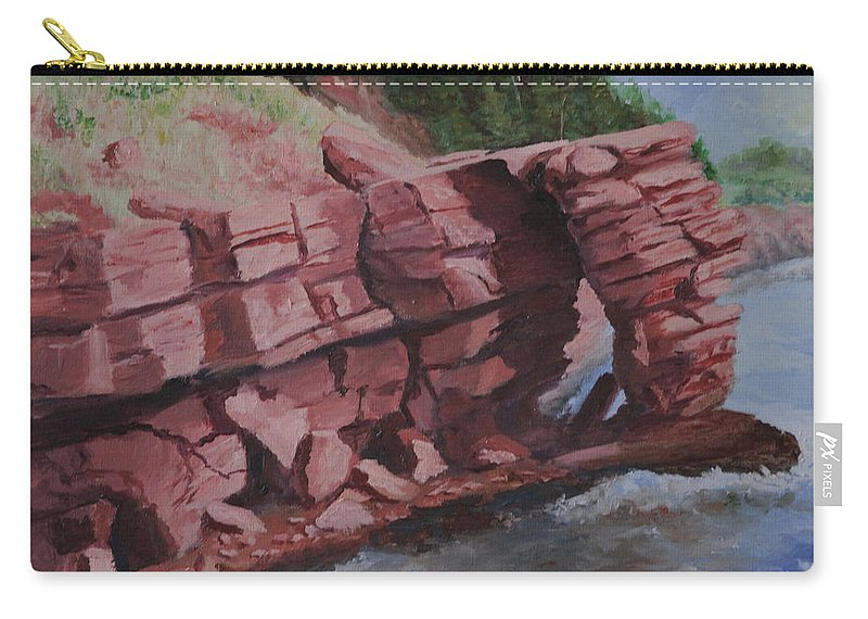 Rock Carry-all Pouch featuring the painting Split Rock by Lorraine Vatcher