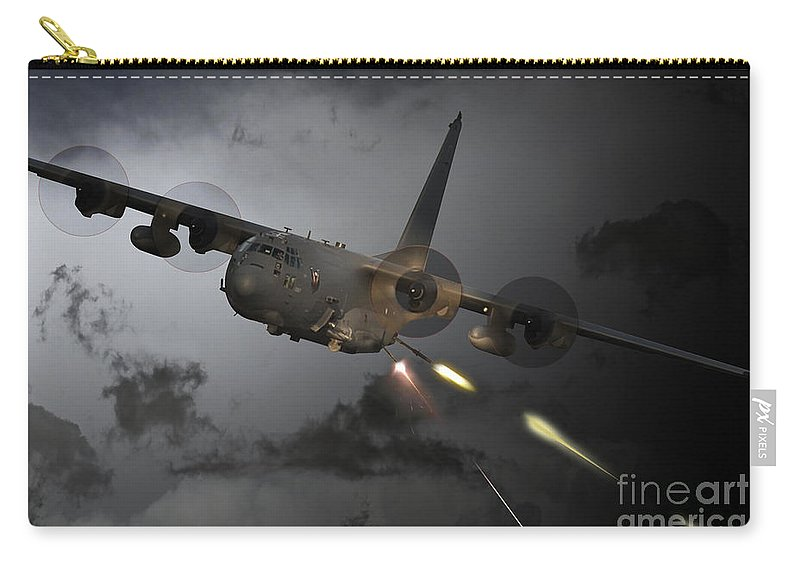 Ac130 Gunship Carry-all Pouch featuring the digital art 'spooky' by J Biggadike