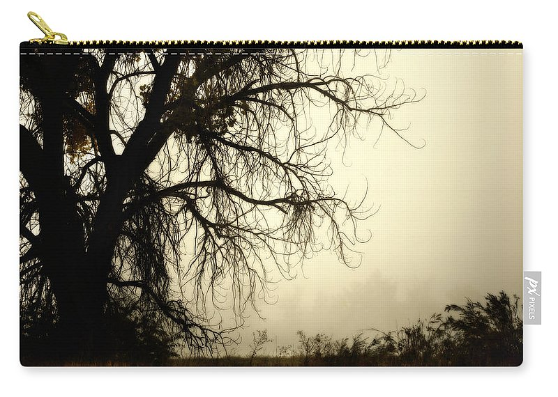 Fog Carry-all Pouch featuring the photograph Spooky Tree by Marilyn Hunt