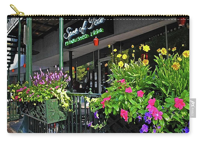 Alabama Photographer Carry-all Pouch featuring the digital art Spot Of Tea Flower Boxes by Michael Thomas