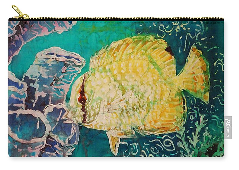 Fish Carry-all Pouch featuring the painting Spotfin Butterflyfish by Sue Duda