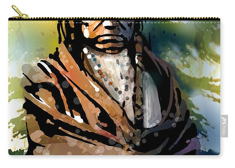 Native American Carry-all Pouch featuring the painting Spotted Tail by Paul Sachtleben