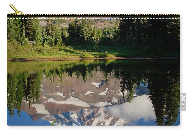 America Carry-all Pouch featuring the photograph Spray Park Reflection by Inge Johnsson