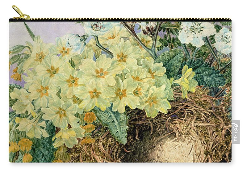 Flowers Carry-all Pouch featuring the drawing Spring, 1879 by Fanny Jane Bayfield