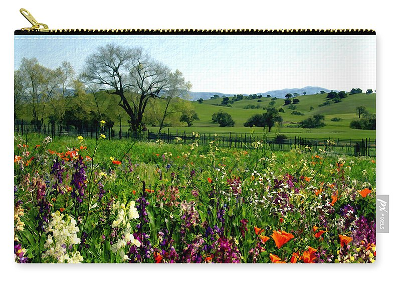 Flowers Carry-all Pouch featuring the photograph Spring Bouquet At Rusack Vineyards by Kurt Van Wagner
