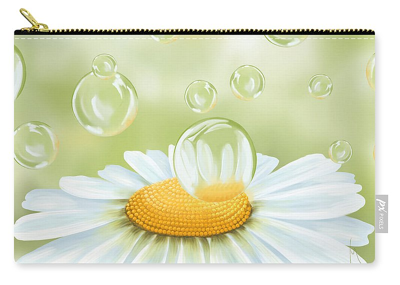 Daisy Carry-all Pouch featuring the painting Spring Bubble by Veronica Minozzi